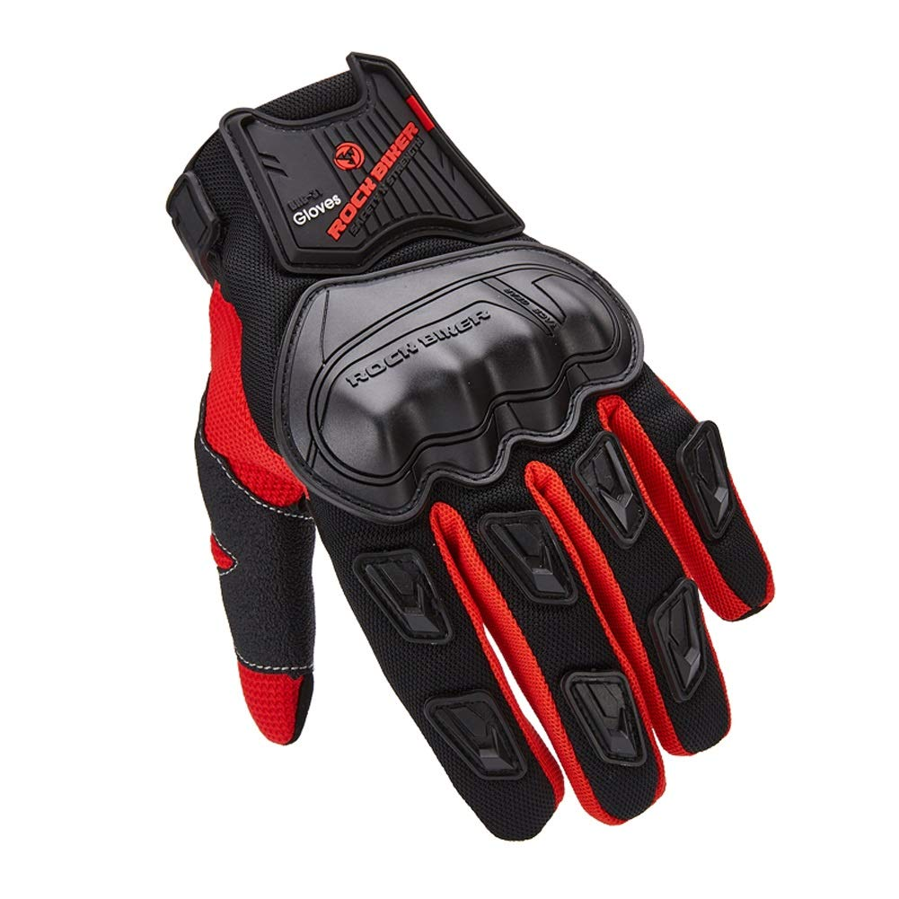 AINIYF Full Finger Motorcycle Gloves | Male Locomotive Tactical Gloves Riding Four Seasons Anti-skid Anti-skid Breathable Touch Screen (Color : Red, Size : XL)