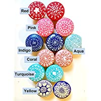 Set of 10 - Hand-painted wooden knobs for cabinets, dresser, drawer pulls, shutters, boxes, boho mandala design, any color custom, bohemian / cottage / coastal / shabby chic (10 knobs)