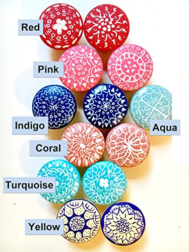 Painted Cottage Furniture (Set of 10 - Hand-painted wooden knobs for cabinets, dresser, drawer pulls, shutters, boxes, boho mandala design, any color custom, bohemian / cottage / coastal / shabby chic (10 knobs))