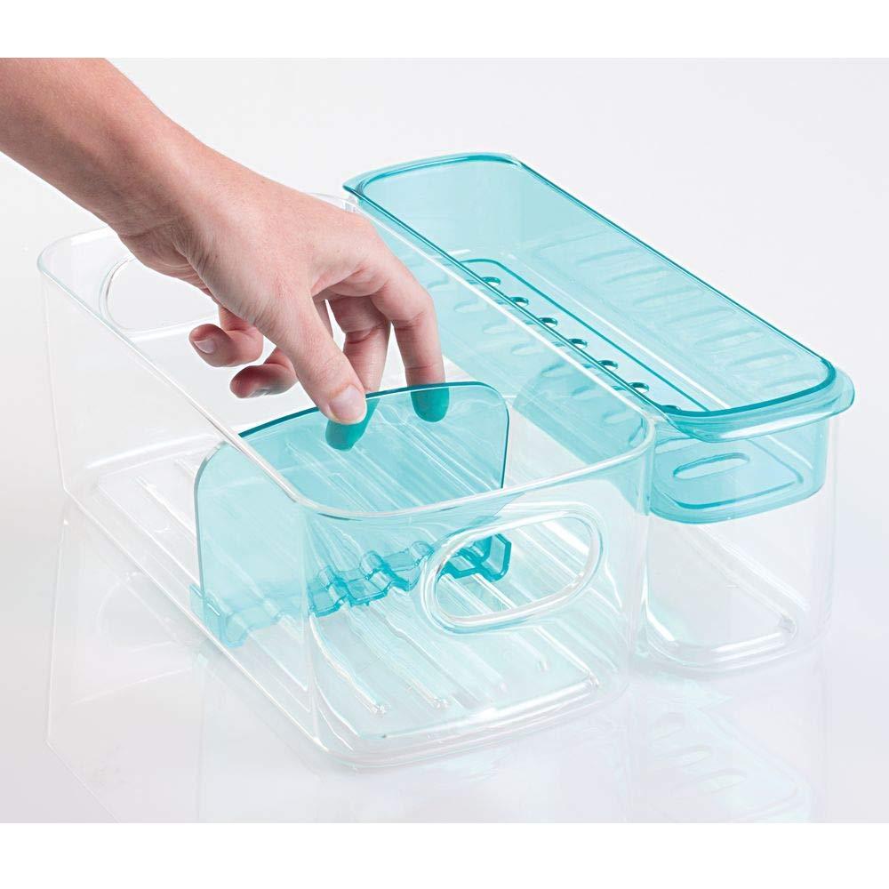 Organizador pl/ástico color transparente con compartimentos y bandeja extra/íble. Caja organizadora para art/ículos beb/é de mDesign