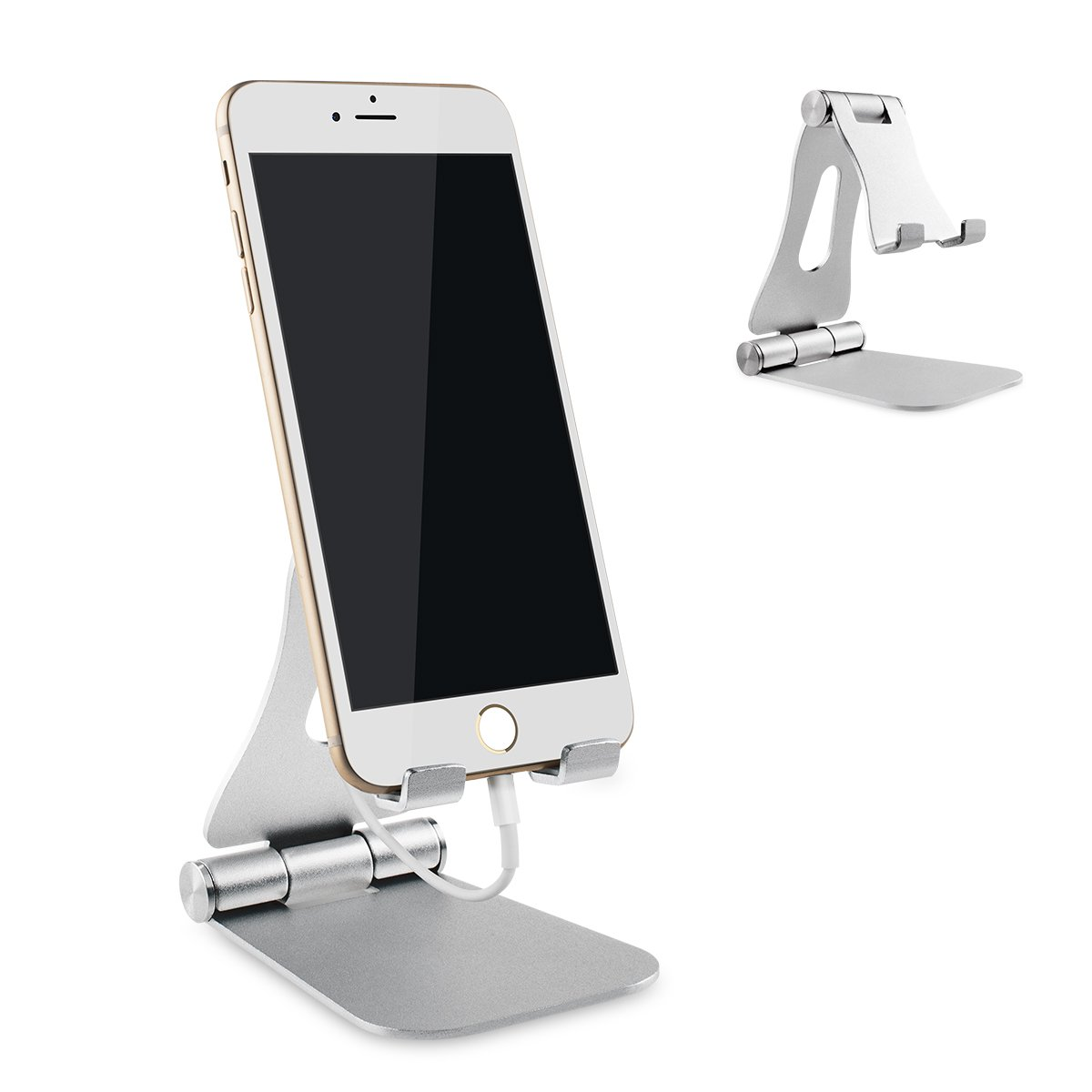 Adjustable Cell Phone Stand Portable Foldable Adjustable Cell Phone Desk Stand Mount All Smart phone Devices (Silver)