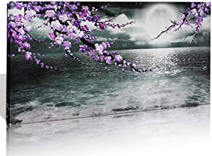 Large Purple Wall Art Decor for Living Room Bedroom Framed Black and White Seascape Full Moon Purple Flower Painting Canvas Picture Modern Hand-Painted Plum Blossom Artwork for Home Office 30x60
