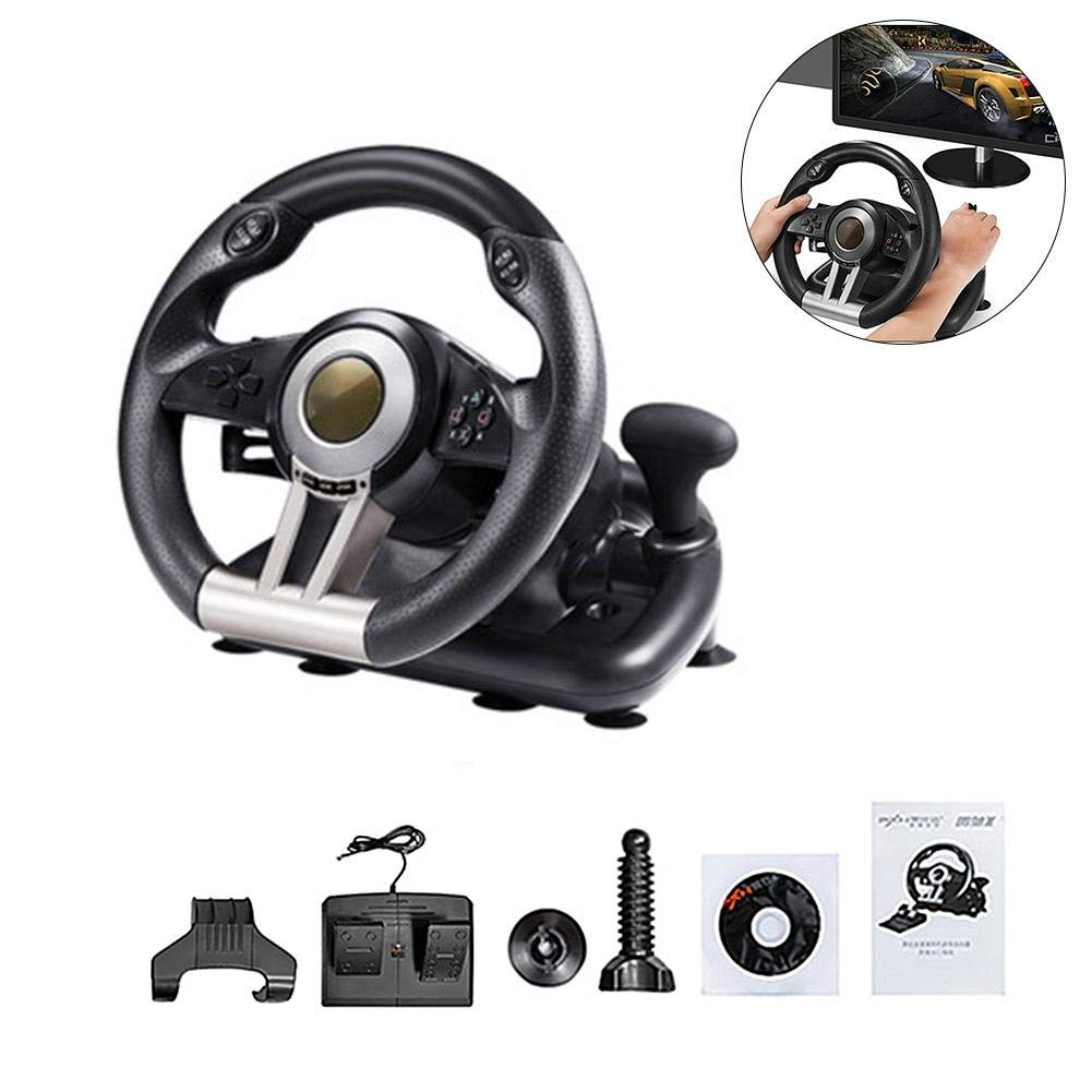 COREYCHEN Computer Game Steering Wheel Simulation Racing Simulation Driving School Car Support for PC/PS3/PS4/X-ONE Game Steering Wheel Set with Pedals CORESUFUY