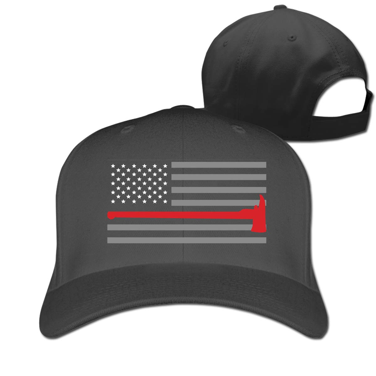 Thin Red Line Flag Fashion Adjustable Cotton Baseball Caps Trucker Driver Hat Outdoor Cap Black