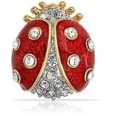 Bling Jewelry Plaqué or Bijoux cristal émail rouge Broche Broche Coccinelle Insectes