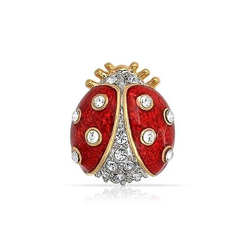 Red Enamel Ladybug Brooch (Silver Tone) sKrw3U