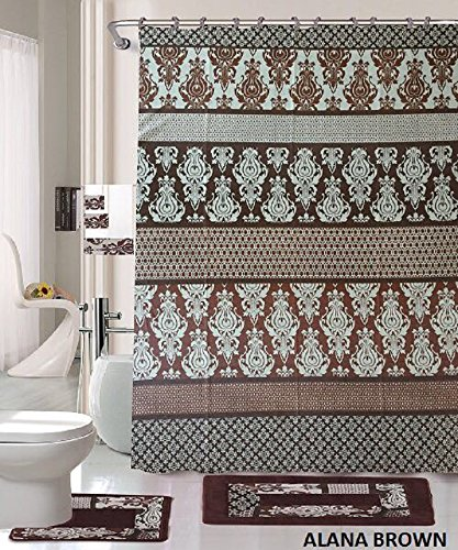 Amazon.com: 18 Piece Bath Rug Set Coffee Brown Teal Blue print ...