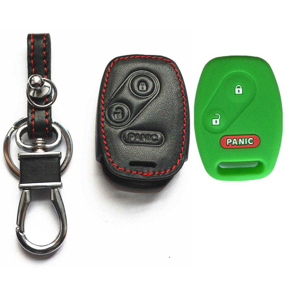 MJKEY Blue Silicone Rubber Protect 2+1 Buttons Remote Smart Key Cover Shell Case Jacket Bag Fob Case Holder for Honda Civic Odyssey Fit CR-V Ridgeline MLBHLIK-1T