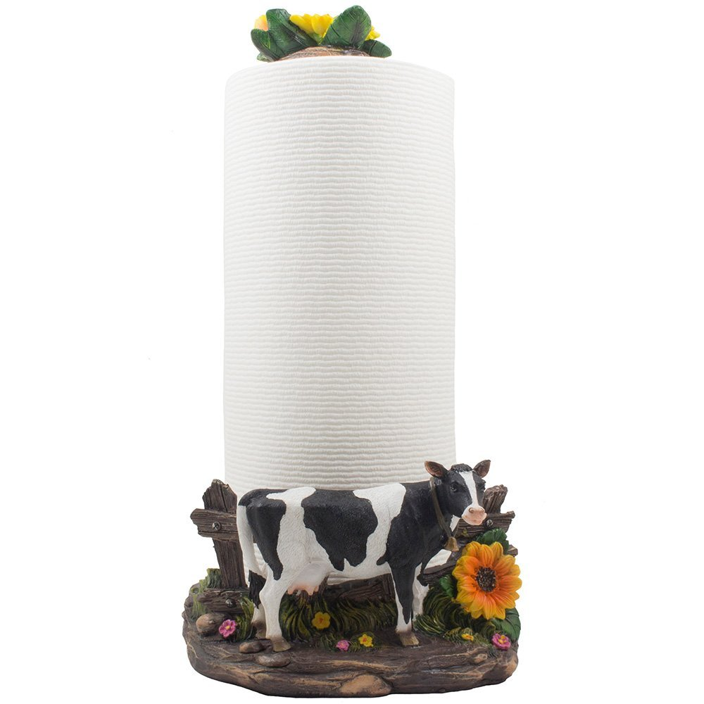 Decorative Holstein Cow Paper Towel Holder Display Stand with Sunflower Accents for Countertop Rustic Country Kitchen Décor As Farm Animal Gifts for Farmers