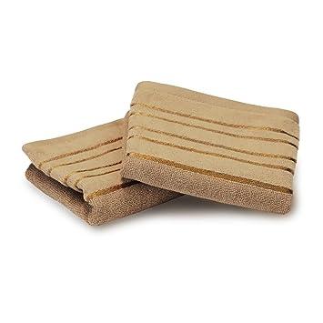 Lote de 2 toallas invitados 30 x 50 cm 100% algodón 500 G/m2 faja Beige: Amazon.es: Hogar