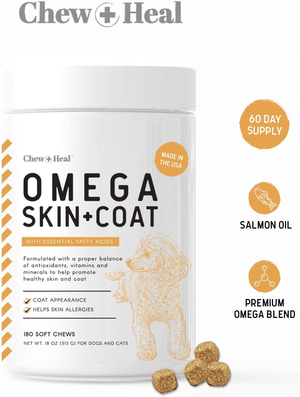 Chew Heal Omega Skin and Coat Supplement – 180 Soft Chews – Salmon Fish Oil for Dogs – Blend of Essential Fatty Acids, Omega 3 and 6, Vitamins, Antioxidants and Minerals – 60 Day Supply