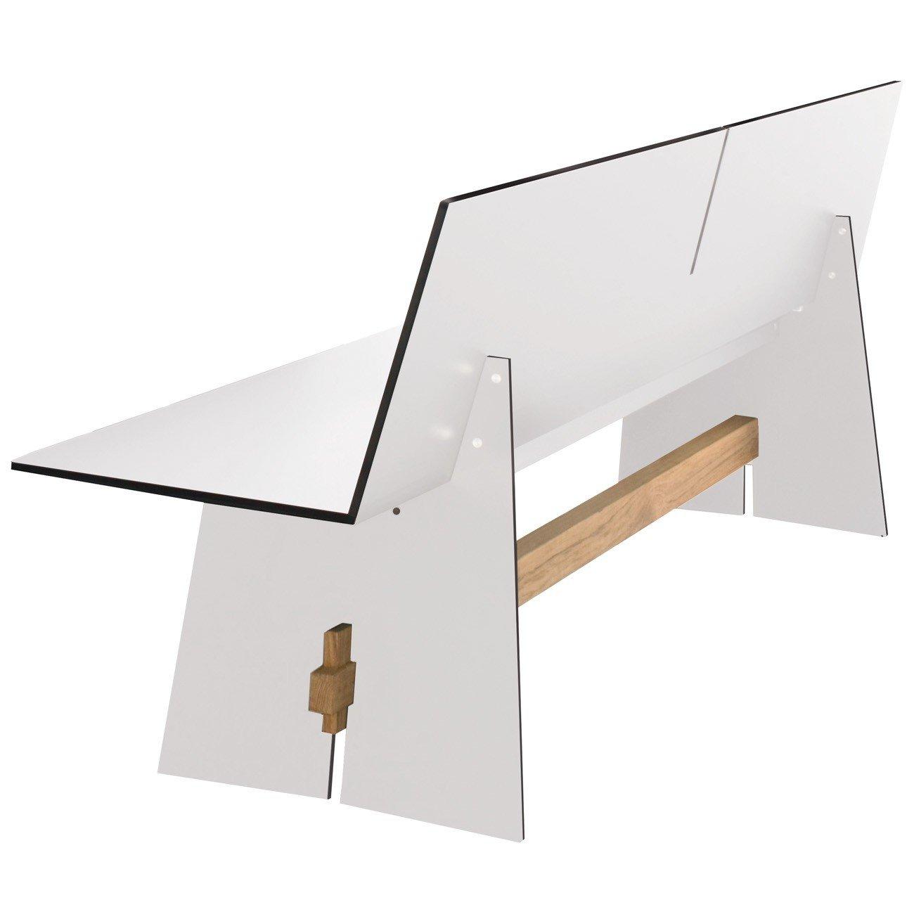 Conmoto Tension - Bank mit Rückenlehne 76 x 220 x 57 cm HPL weiss - Traverse aus Teak - ohne Auflage - Outdoorbank - Gartenbank