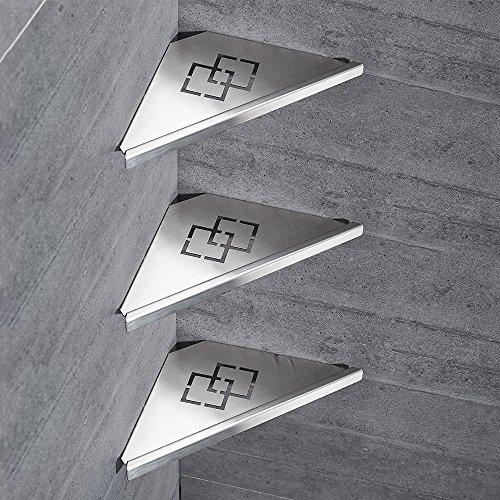 OWOFAN 3 Tier Bathroom Corner Shelf Rack Shower Storage Triangle Wall Shelves Stainless Steel Brush Nickel WF-18062-3