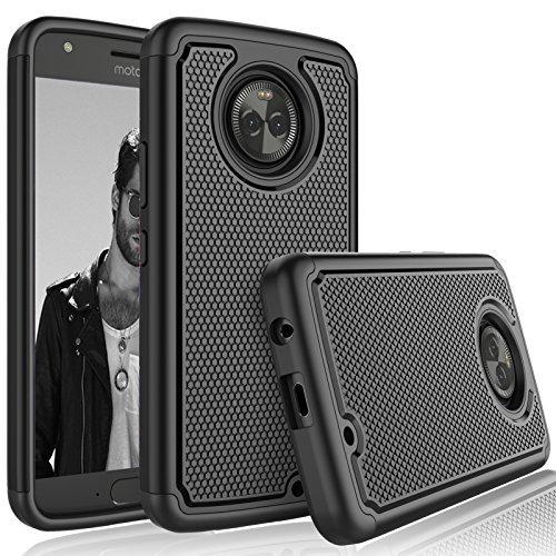 Tekcoo for Moto X4 Case / 2017 Motorola Moto X 4th Generation Sturdy Case, [Tmajor] Shock Absorbing [Black] Rubber Silicone & Plastic Scratch Resistant Bumper Grip Rugged Hard Cases Cover