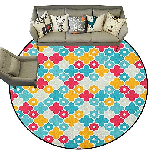 Quatrefoil,Round Rug Kids Colorful Petal Clover Leaves Pattern Bohemian Casual Kids Theme D54 Baby Room Decor Round Carpets