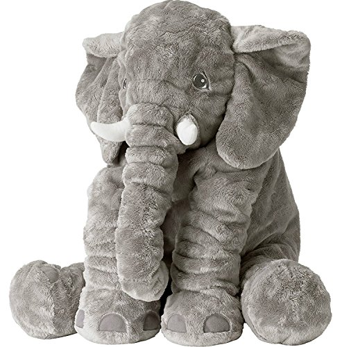 Grifil Zero Elephant Plush Toy Extra Large Size Animal Plush Doll Toy Grey 24 inch (The Biggest Pregnant Belly In The World)