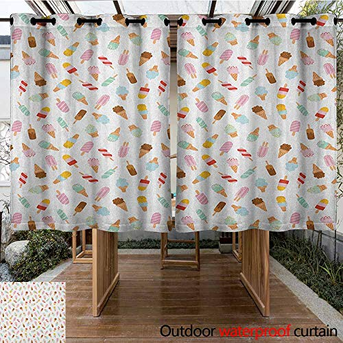AndyTours Sliding Door Curtain,Ice Cream,Cartoon Doodle Style Creamy Delicious Diary Desserts with Various Sweet Flavors,for Porch&Beach&Patio,K160C183 Multicolor