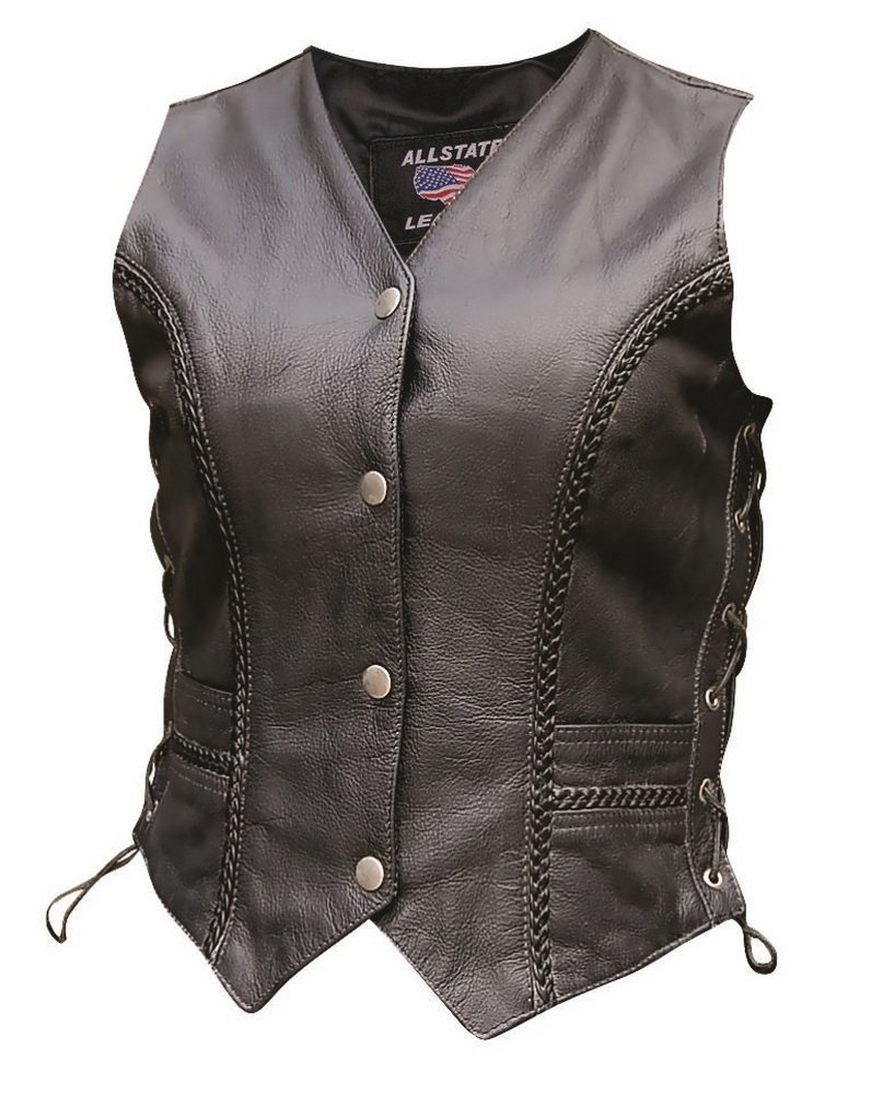 Lady Pirate Black Braid Laced Sides Leather Vest - DeluxeAdultCostumes.com