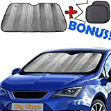 Windshield Sun Shade + Bonus Car Sunshade for Side - Sunshades Best UV Ray Visor Protector Shades Front Window Shade - Keep Vehicle Cool Protect Baby Kids Pet from Sun Heat&Glare(Size: 55.16