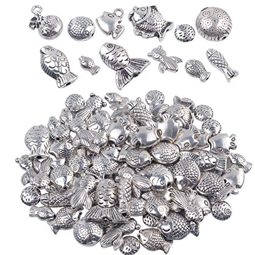 (BronaGrand 100 Gram(About 70-90pcs) Antique Tibetan Silver Alloy Fish Beads Charm Bead Spacers Jewelry Findings Accessories for Bracelet Necklace Jewelry Making)