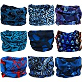 Multifunctional Stretchable Sport & Casual Headwear, Headband Scarf Bandanna Headwrap Mask Neckwarmer & More 12-in-1, 9PC.Blue Series.1