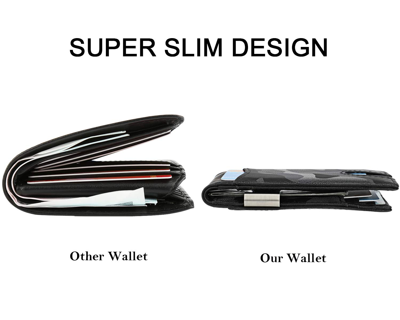 Money Clip Wallet  Mens Slim Front Pocket Leather Wallet RFID Blocking Minimalist Mini Wallet