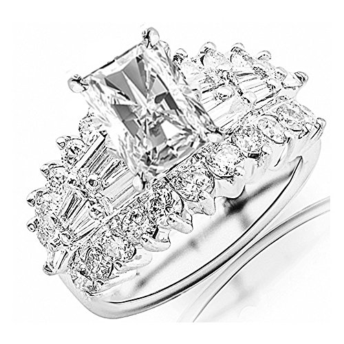 3 Carat 14K White Gold Exquisite Prong Set Bageutte And Round GIA Certified Radiant Cut Diamond Engagement Ring w/a 1 Ct J-K Color SI1-SI2 Clarity Center