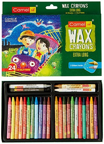 Camel Extra Long Wax Crayons - 24 Shades by Camel