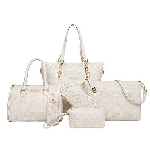 db75a1ad22 Anguang Elegante 5 Pezzi Donna Pochette Borsa a Mano Partito Shopping Borse  a Tracolla Portafoglio Bianca: Amazon.it: Scarpe e borse
