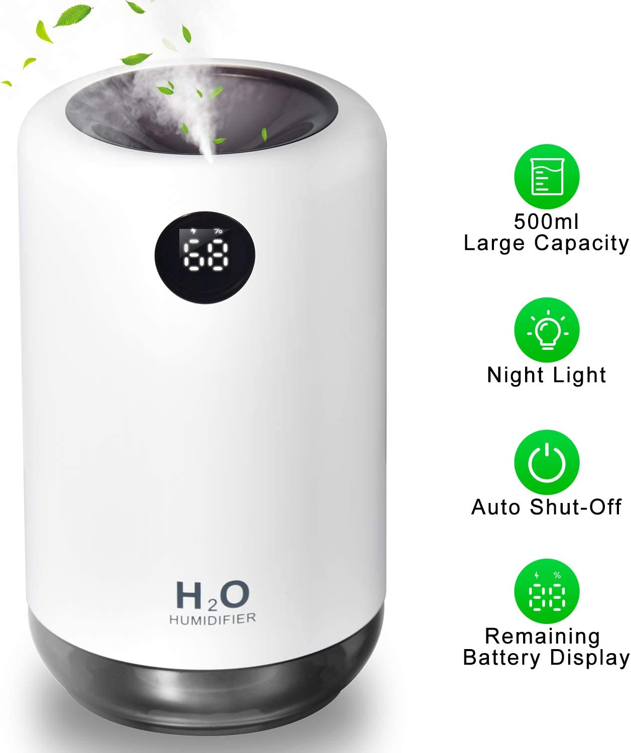 Portable Mini Humidifier, Small Cool Mist Humidifier, 500ml USB Air Humidifier, Desktop Humidifier for Baby Bedroom Travel Office Home, Adjustable Mist Mode, Ultra-Quiet and Auto Shut-Off