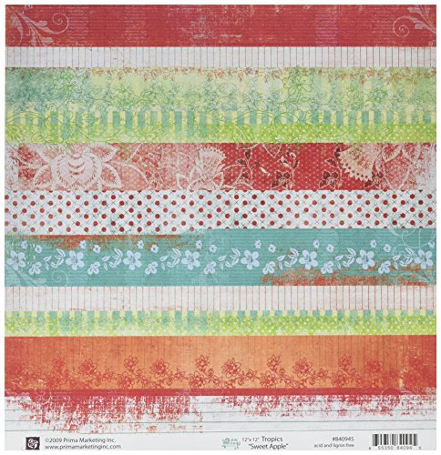 Prima 840945 12 by 12-Inch Tropics Double Sided Patterned Cardstock Paper, Sweet Apple, 10-Pack