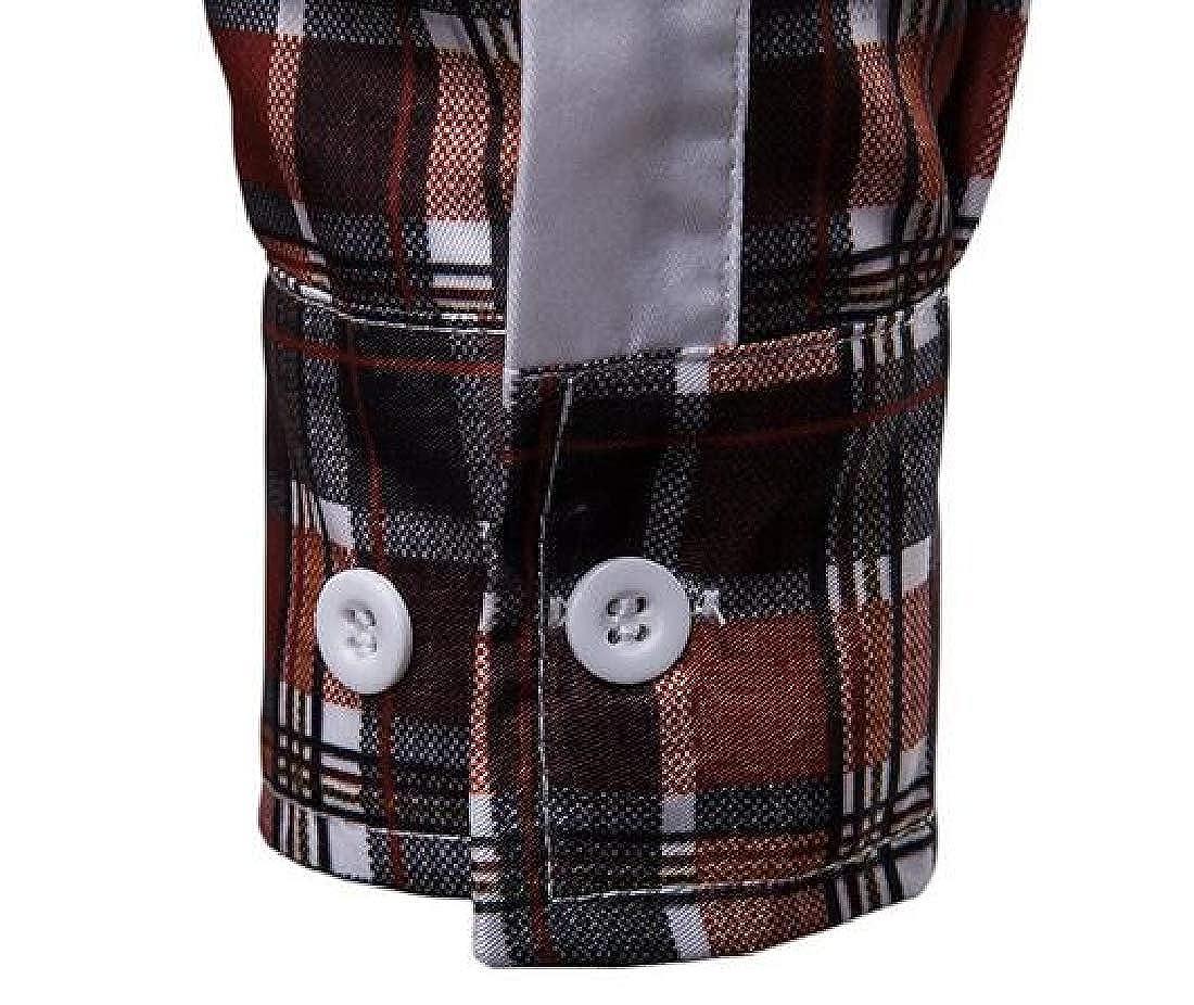 Jotebriyo Men Checkered Casual Long Sleeve Slim Fit Button Down Dress Work Shirt