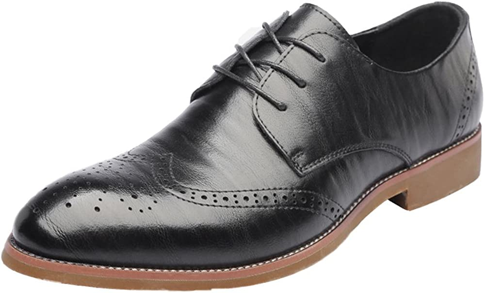MUMUWU Mens Genuine Leather Shoes Hollow Carving Lace Up Breathable Business Low Top Shoes