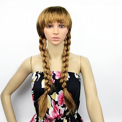 UK reina de la nieve para Frozen Anna princesa marrón trenzado peluca Cosplay juego de tejer