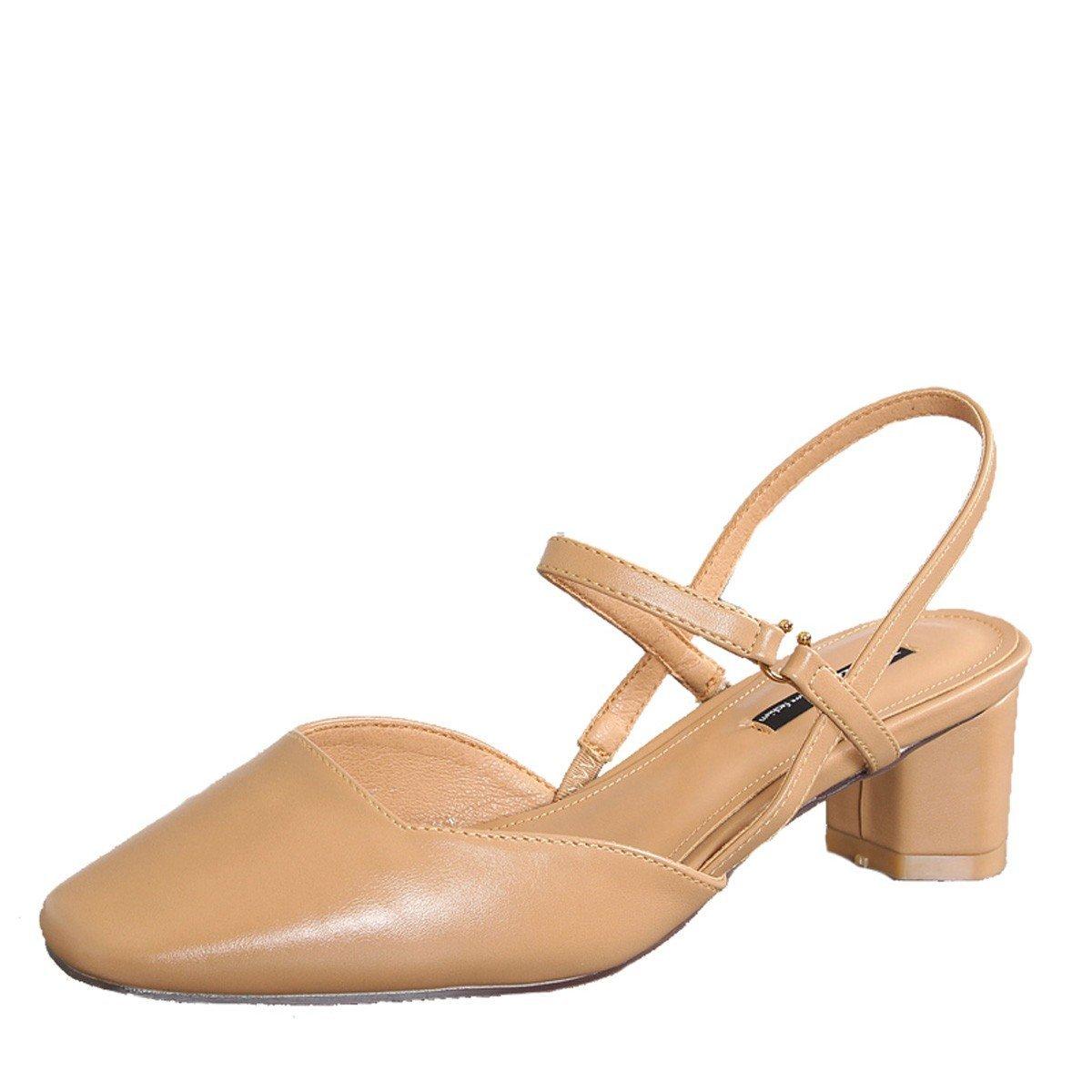 Zapatillas Sandalias Zapatos Verano, Sandalias de Mujer, Primavera, Moda, Cabeza Cuadrada Retro, tacón Grueso, Tacones Altos de 5 cm, Palabra Hebilla, Sandalias Baotou 38 EU|Camello