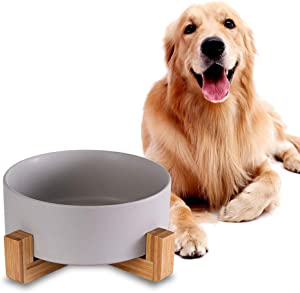 Ceramic Dog Bowls with Wood Stand, Dog Water Bowls and Food Dish, Heavy Weighted or No Tip Over Dog Comfort Food Bowls, Stoneware Pet Bowl,Extra High Capacity 8.4