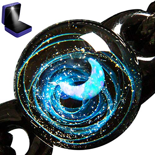 - Pavaruni Aurora Original Galaxy Moon Star Pendant Necklace, Universe Glass Accessories, Space Cosmos Design,Birthday X_Theia(Bracelet)(Play of Color)