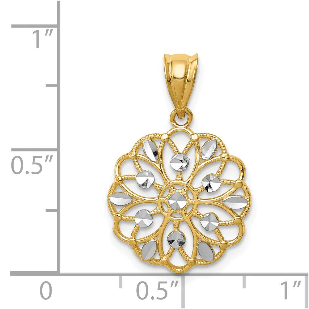 14k /& Rhodium Diamond-cut Round Pendant