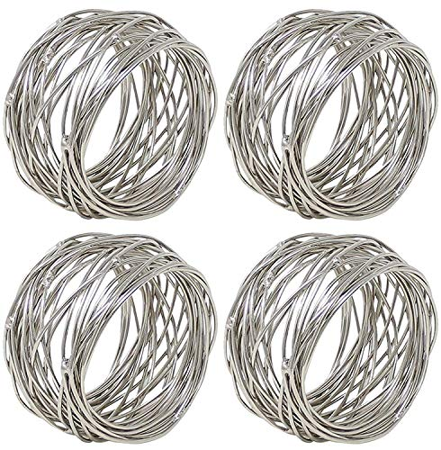 Divine glance Silver Round Mesh Napkin Rings for Weddings Dinner Parties or Every Day Use (4) ()