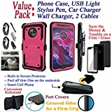 Value Pack + for 5.2'' Motorola moto X4 Case Clip Holster Phone Case 360° Cover Screen Protector Kickstand Armor Layers Grip Sides Shock Bumper (Pink)