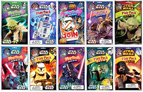 Bundle of 10 Unique Star Wars Grab & Go Play Packs - Yoda, Darth Vader, Stormtroopers, and More … by Bendon