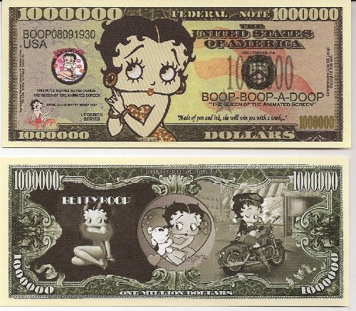 Paper Betty Boop (Betty Boop $Million Dollar$ Novelty Bill Collectible)