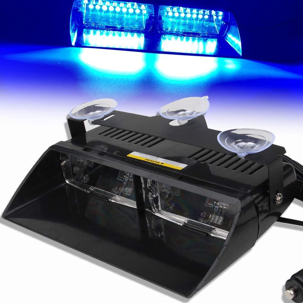 Balise Feu de D/étresse Ambre 16 LED Application de la Loi Lumi/ère Avertissement Stroboscope Clignotant Lampe Durgence avec la ventouse 12V Pour le toit//le tableau de bord//le pare-brise internes