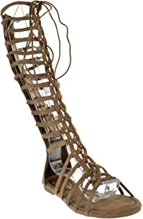 6ffd24ecf72 DBDK Carling 3 Womens Knee High Flat Caged Gladiator Sandals