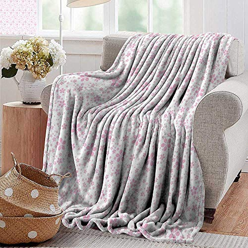 PearlRolan Throw Blanket,Cherry Blossom,Childish Cute Pink Flowers on White Background Kids Girls Simple Design,Pale Pink White,Sofa Super Soft, Plush, Fuzzy Microfiber Throw Reversible,Comfy 30
