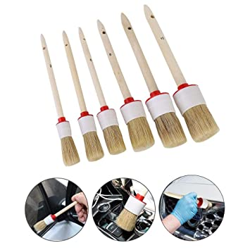 Motorcycle Automotive Boar Hair Detail Brush Cleaning Wheels Car Detailing Brush Set Set of 6 PCS Emblems,Exterior Leather,Trim,Seats Engines Air Vents Interior