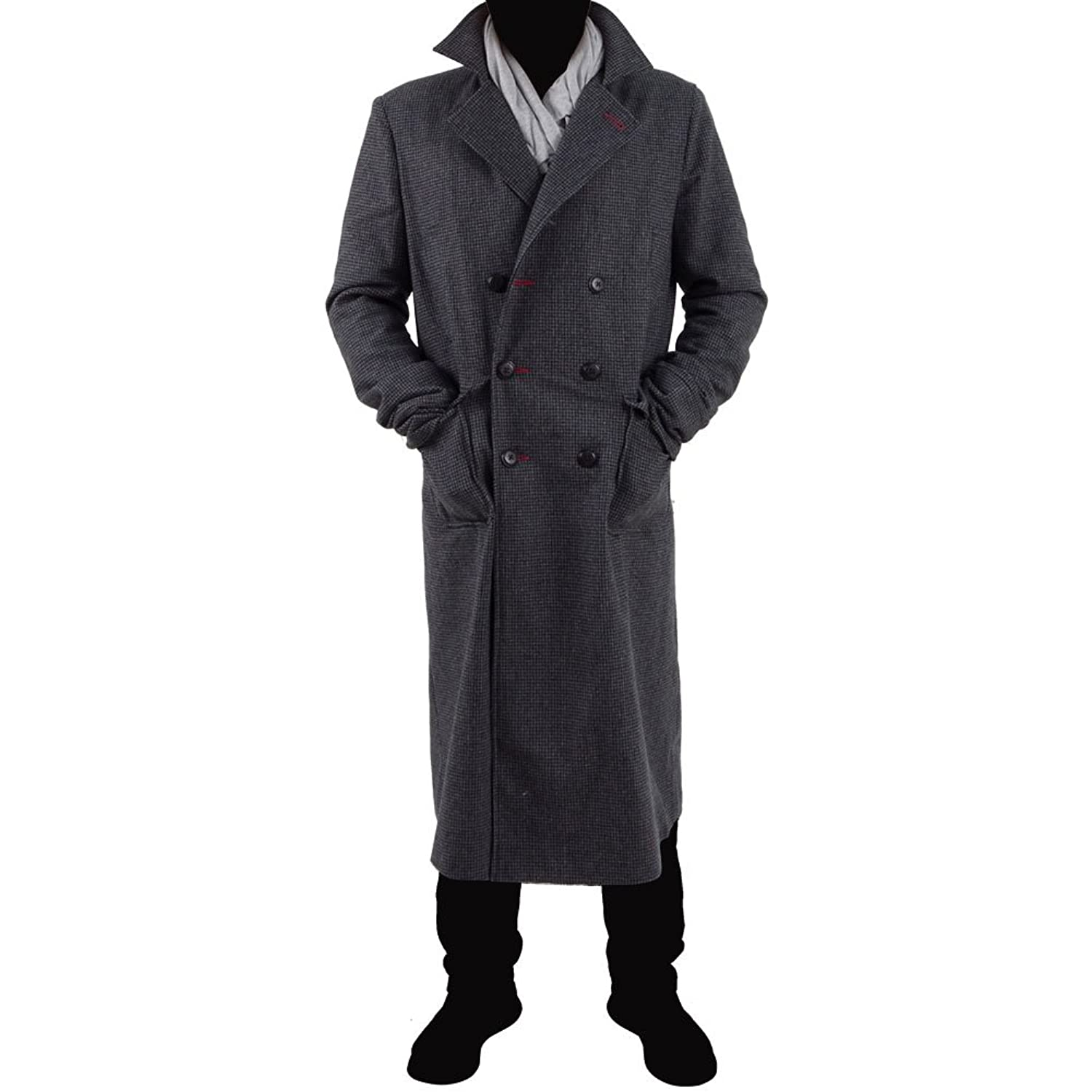 Men's Vintage Style Coats and Jackets Mens Plaids And Tweeds Long Trench Coat Halloween Cosplay Costume Overcoat $100.00 AT vintagedancer.com