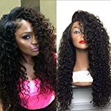 Yazi Hair Glueless Lace Front Human Hair Wigs For Black Women Brazilian Virgin Hair Full Lace Wigs Deep Curly Front Lace Wigs With Baby Hair (18inch with 150% density natural color)