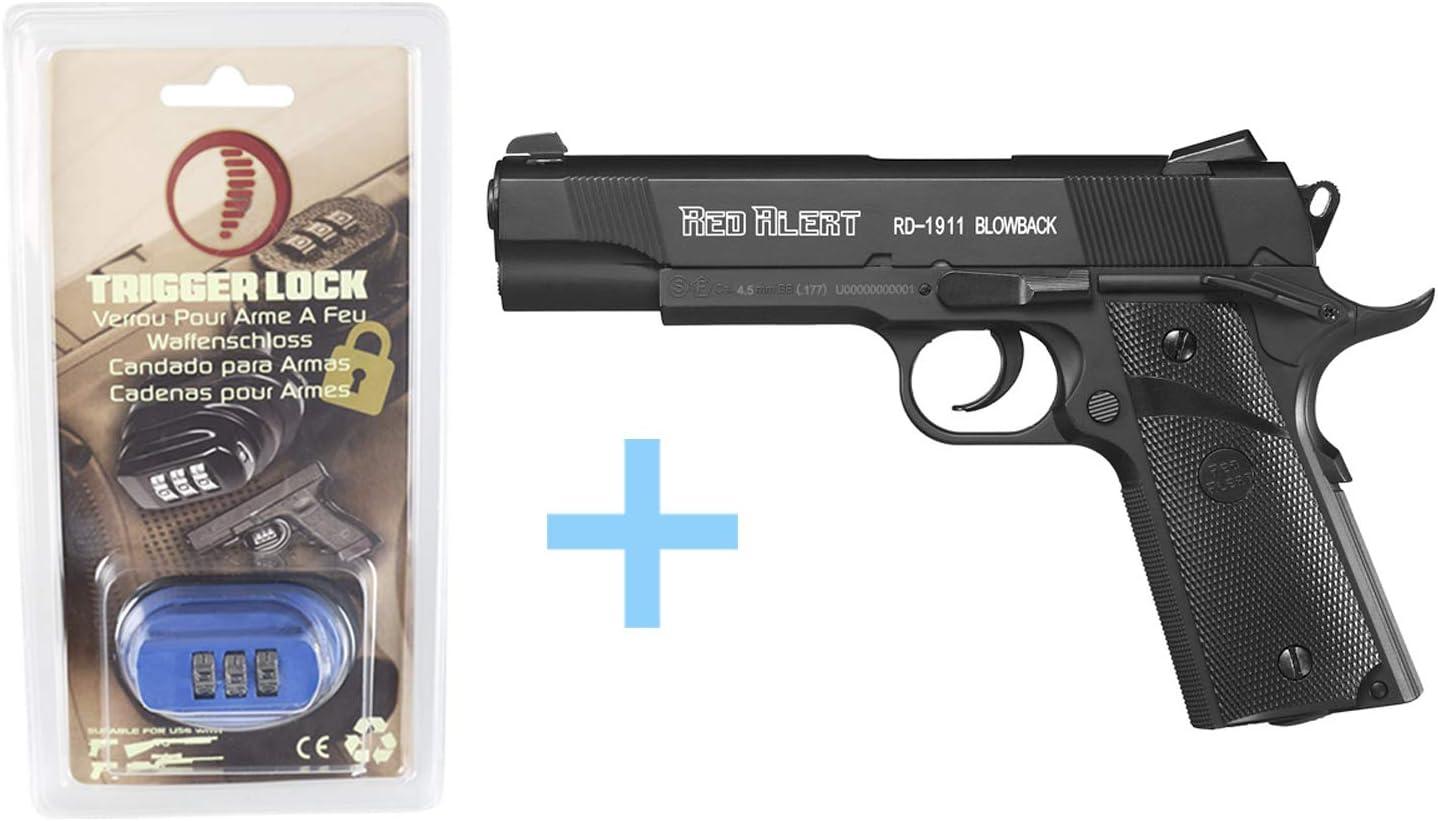 Gamo Pack Pistola Aire Comprimido (CO2) Red Alert RD-1911 Blowback, Pistola Gas, Potencia de 3 Julios, Pistola de plomos Semiautomática Calibre 4,5 mm, Capacidad 20 BBS + Candado de Seguridad Yatek.