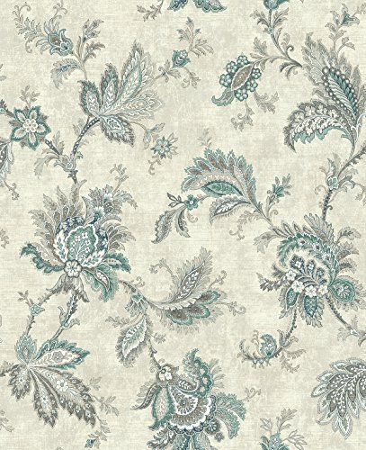 Wallpaper Classic Jacobean Floral in Teal and Gray with Pearlized Eggshell White